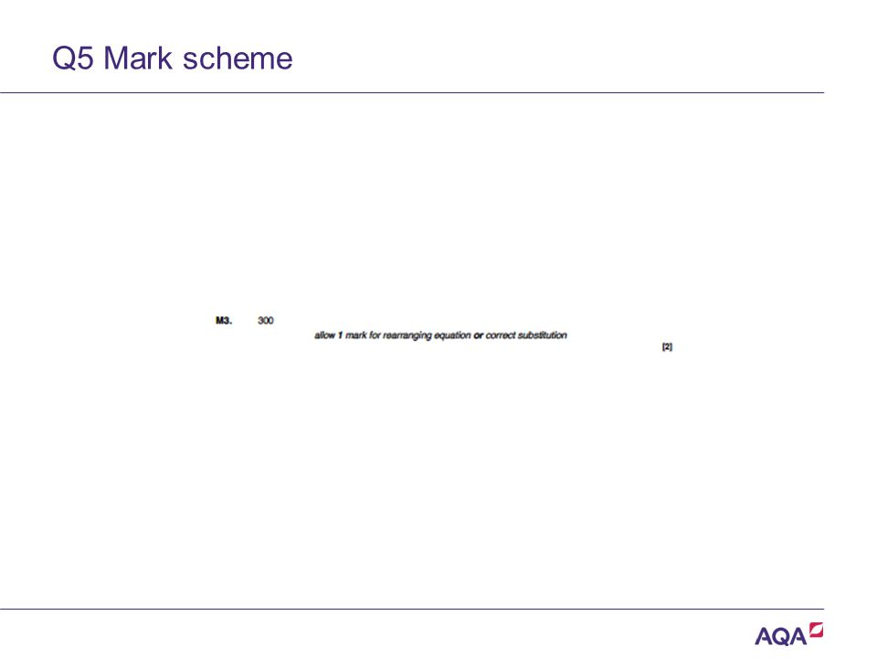 Q5 Mark scheme Version 2.0 Copyright © AQA and its licensors. All rights reserved.