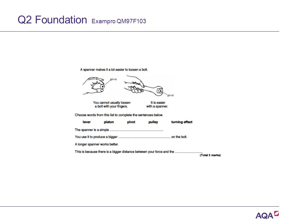 Q2 Foundation Exampro QM97F103 Version 2.0 Copyright © AQA and its licensors. All rights reserved.