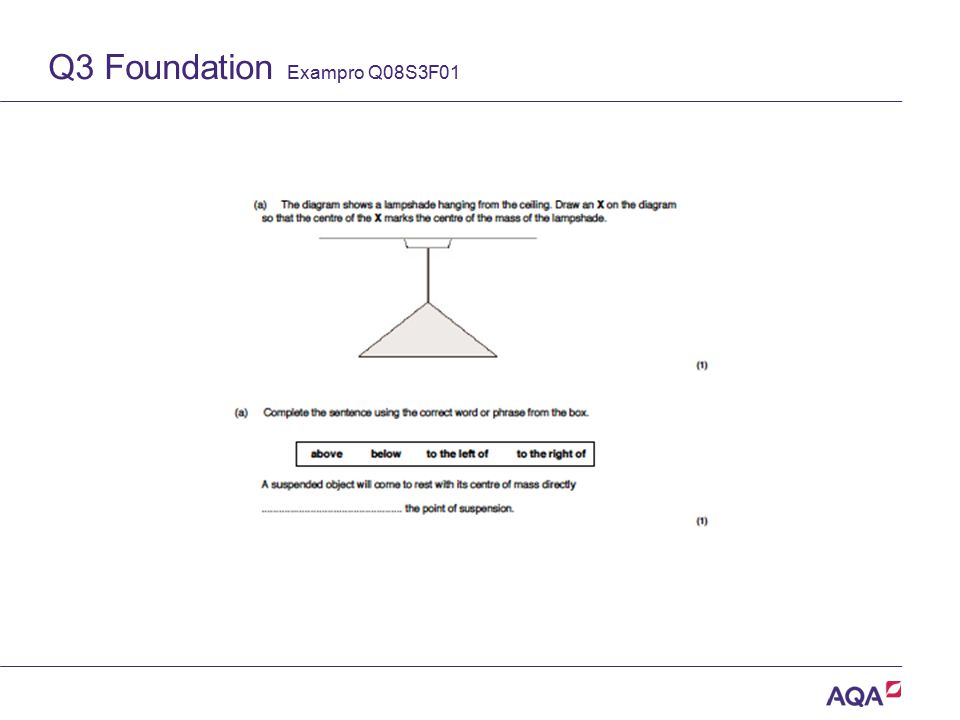 Q3 Foundation Exampro Q08S3F01 Version 2.0 Copyright © AQA and its licensors. All rights reserved.