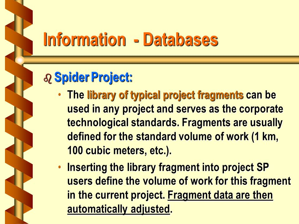 Information - Databases b Spider Project: The library of typical project fragments can be used in any project and serves as the corporate technological standards.