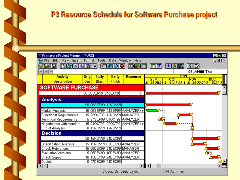 P3 Resource Schedule for Software Purchase project