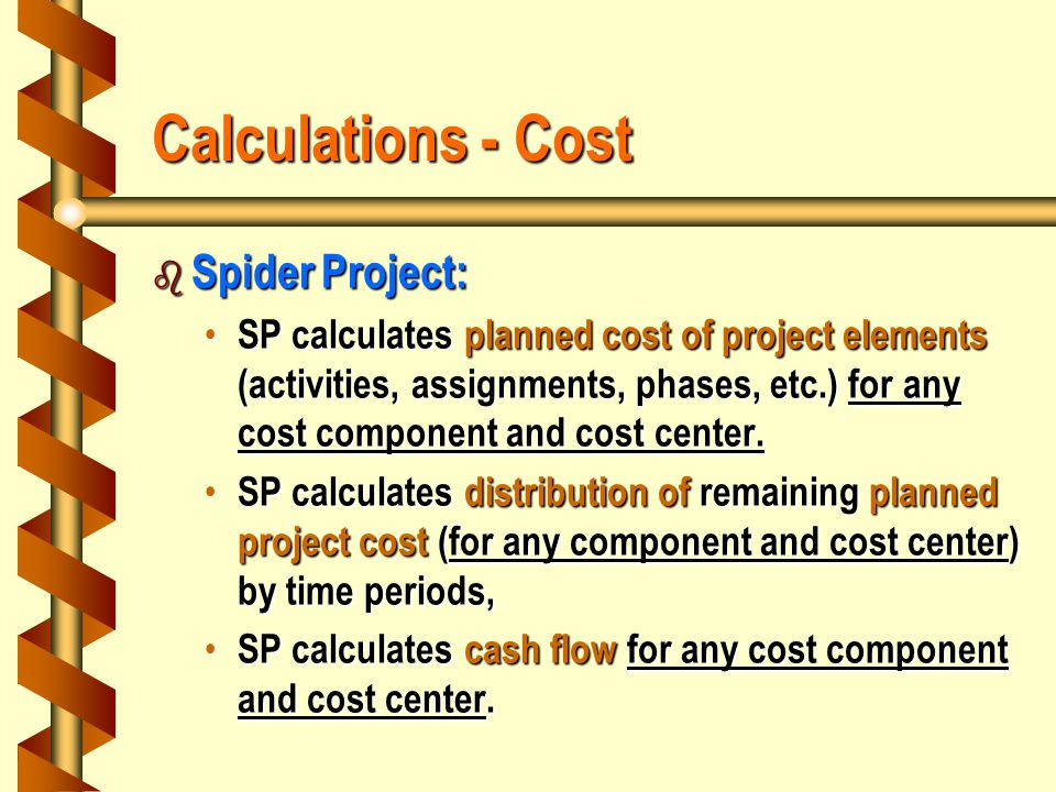 Calculations - Cost b Spider Project: SP calculates planned cost of project elements (activities, assignments, phases, etc.) for any cost component and cost center.