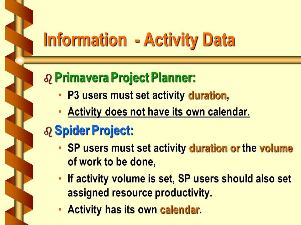 Information - Activity Data b Primavera Project Planner: P3 users must set activity duration, P3 users must set activity duration, Activity does not have its own calendar.