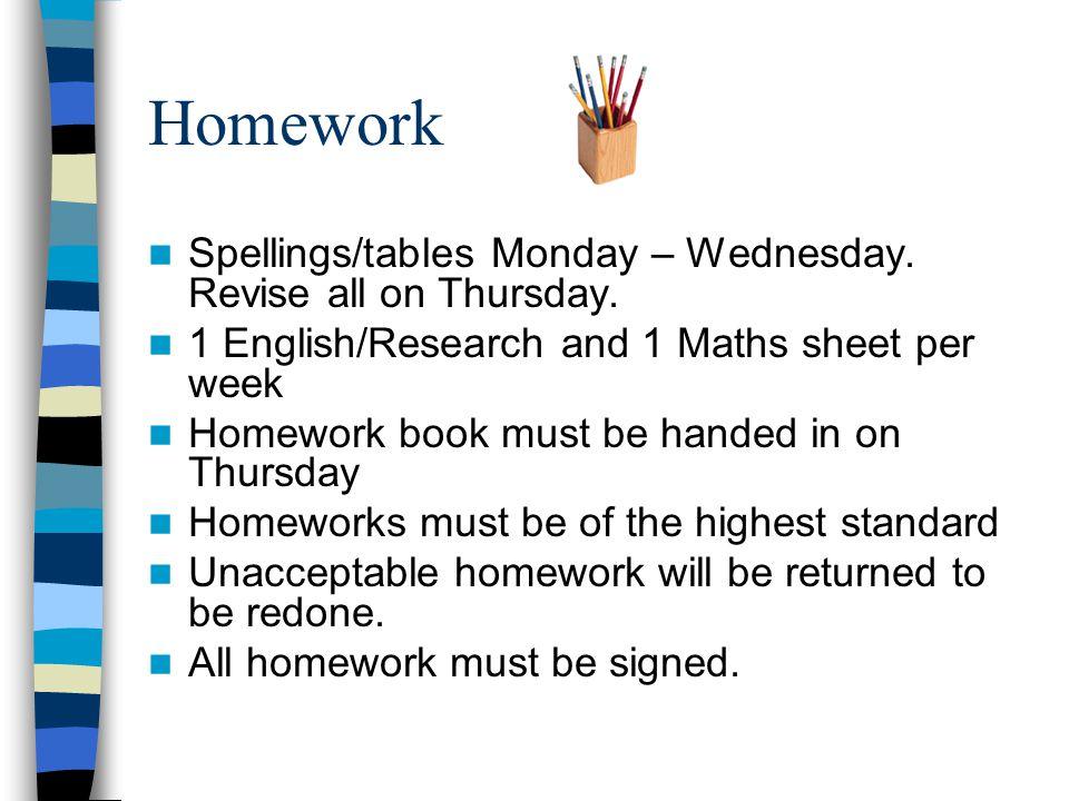 Homework Spellings/tables Monday – Wednesday. Revise all on Thursday.