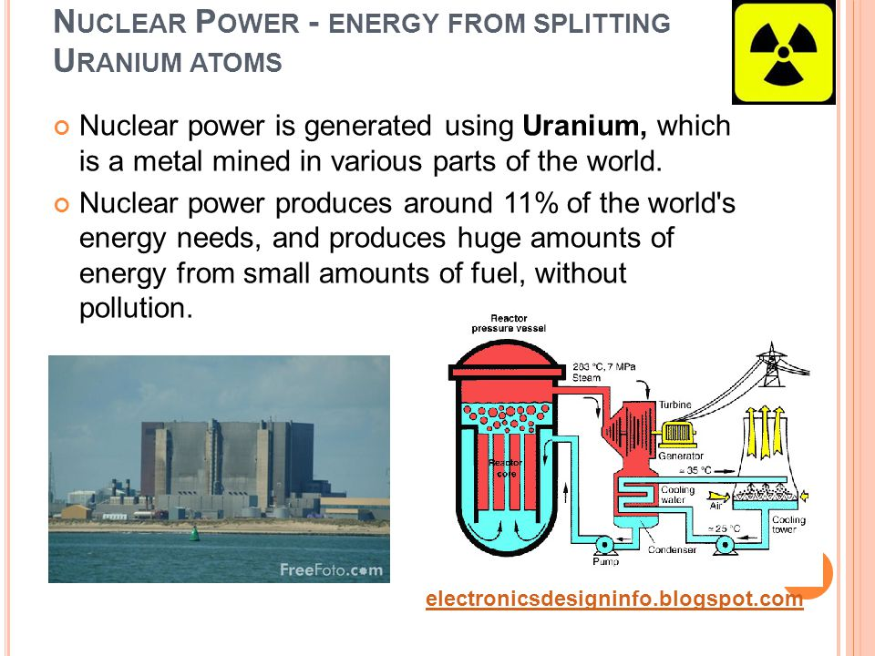 N UCLEAR P OWER - ENERGY FROM SPLITTING U RANIUM ATOMS Nuclear power is generated using Uranium, which is a metal mined in various parts of the world.