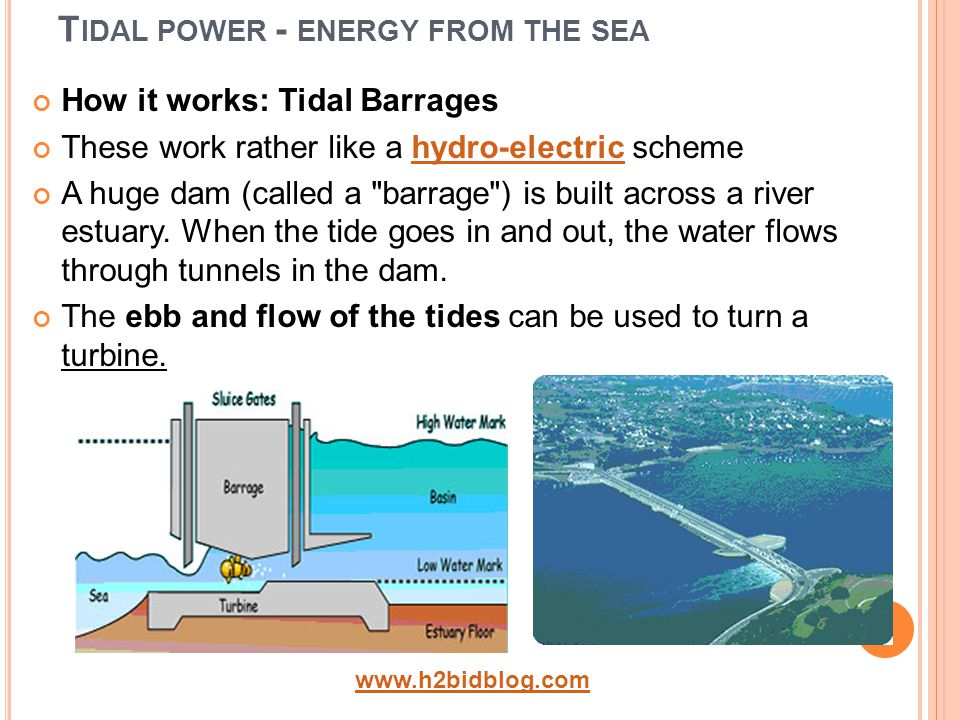 T IDAL POWER - ENERGY FROM THE SEA How it works: Tidal Barrages These work rather like a hydro-electric schemehydro-electric A huge dam (called a