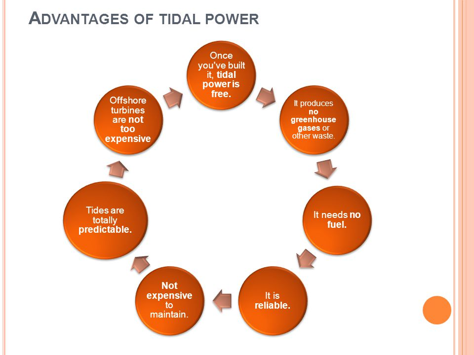 A DVANTAGES OF TIDAL POWER Once you've built it, tidal power is free. It produces no greenhouse gases or other waste. It needs no fuel. It is reliable