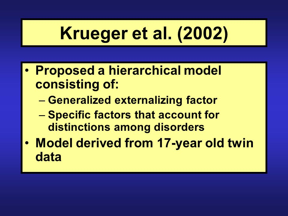 Krueger et al. (2002) Proposed a hierarchical model consisting of: –Generalized externalizing factor –Specific factors that account for distinctions a