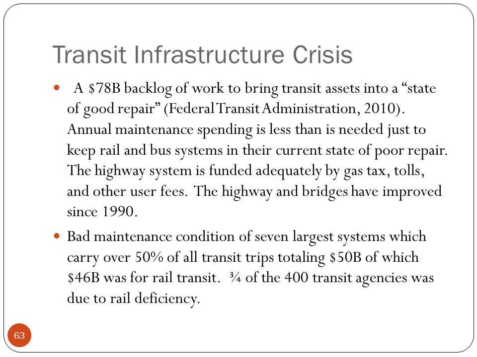Transit Infrastructure Crisis A $78B backlog of work to bring transit assets into a state of good repair (Federal Transit Administration, 2010).