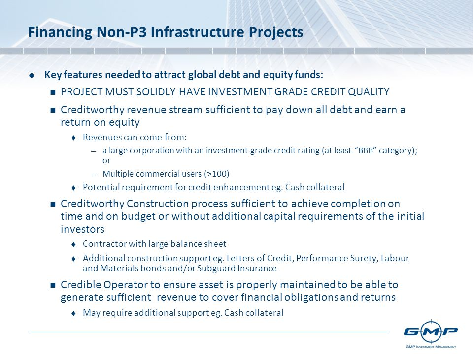 Financing Non-P3 Infrastructure Projects Key features needed to attract global debt and equity funds: PROJECT MUST SOLIDLY HAVE INVESTMENT GRADE CREDIT QUALITY Creditworthy revenue stream sufficient to pay down all debt and earn a return on equity  Revenues can come from: — a large corporation with an investment grade credit rating (at least BBB category); or — Multiple commercial users (>100)  Potential requirement for credit enhancement eg.