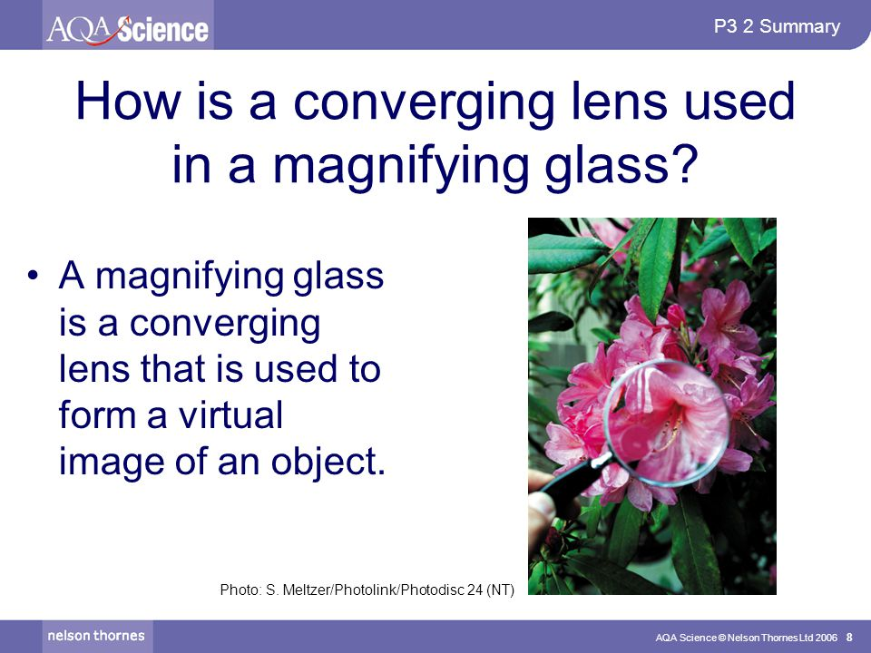 P3 2 Summary AQA Science © Nelson Thornes Ltd 2006 8 How is a converging lens used in a magnifying glass? A magnifying glass is a converging lens that