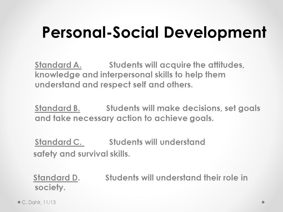 Standard A.Students will acquire the attitudes, knowledge and interpersonal skills to help them understand and respect self and others. Standard B. St
