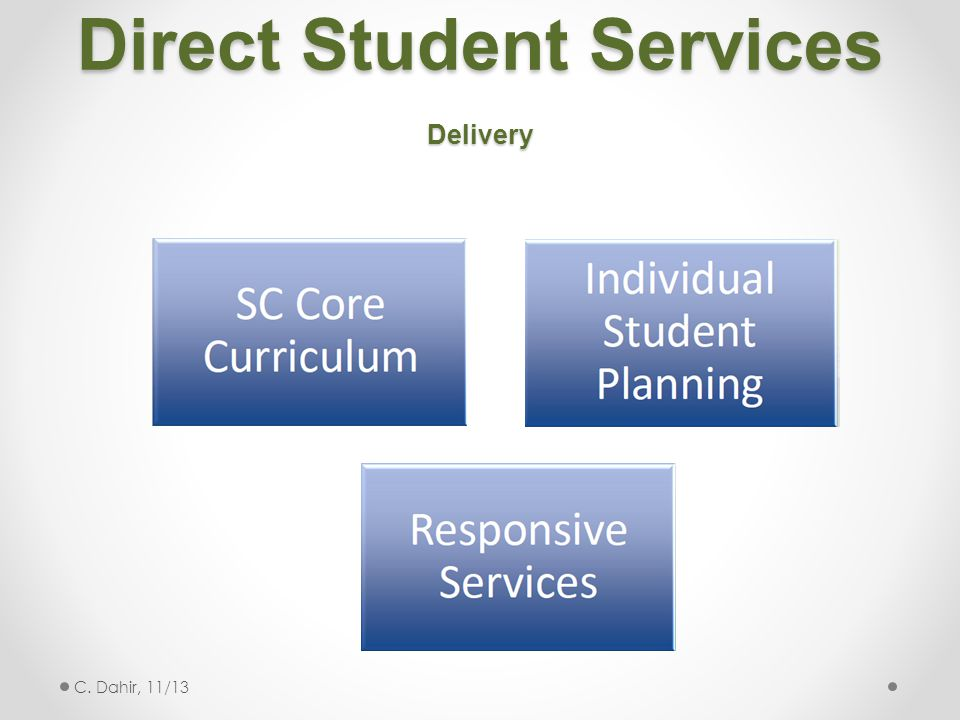 Direct Student Services Delivery C. Dahir, 11/13