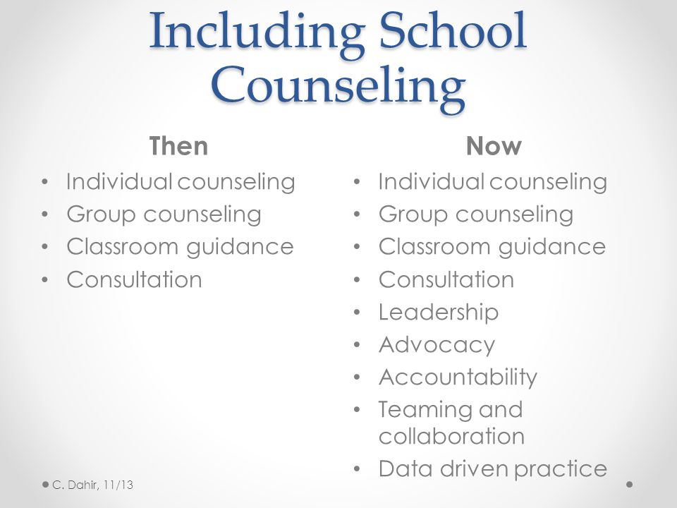 Including School Counseling ThenNow Individual counseling Group counseling Classroom guidance Consultation Individual counseling Group counseling Clas