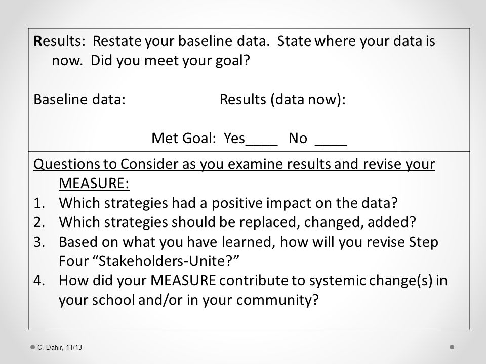 Results: Restate your baseline data. State where your data is now.