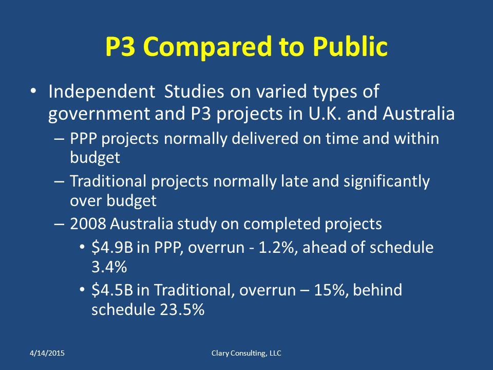 P3 Compared to Public Independent Studies on varied types of government and P3 projects in U.K.