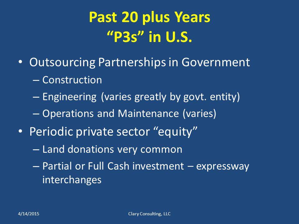 Past 20 plus Years P3s in U.S.