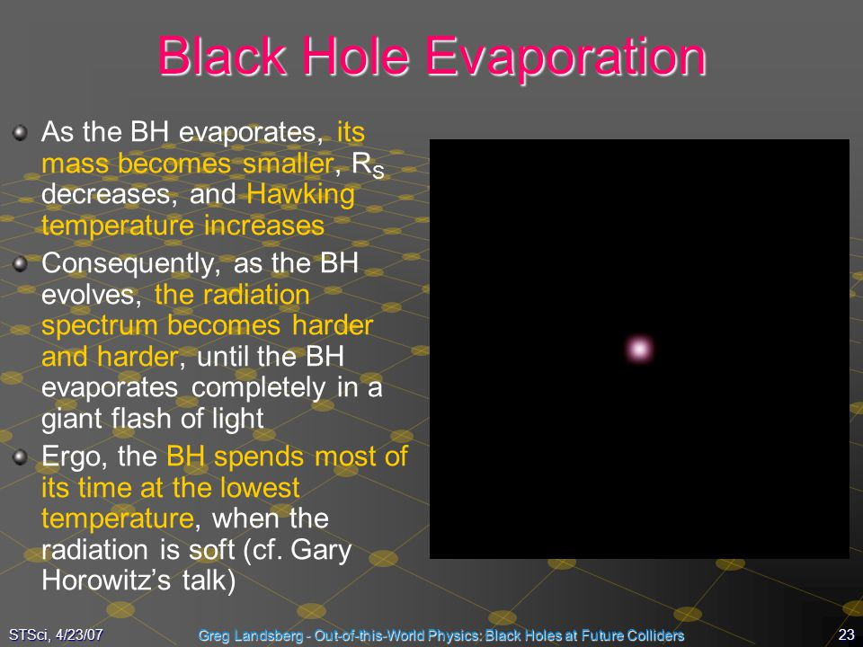 23STSci, 4/23/07Greg Landsberg - Out-of-this-World Physics: Black Holes at Future Colliders Black Hole Evaporation As the BH evaporates, its mass beco
