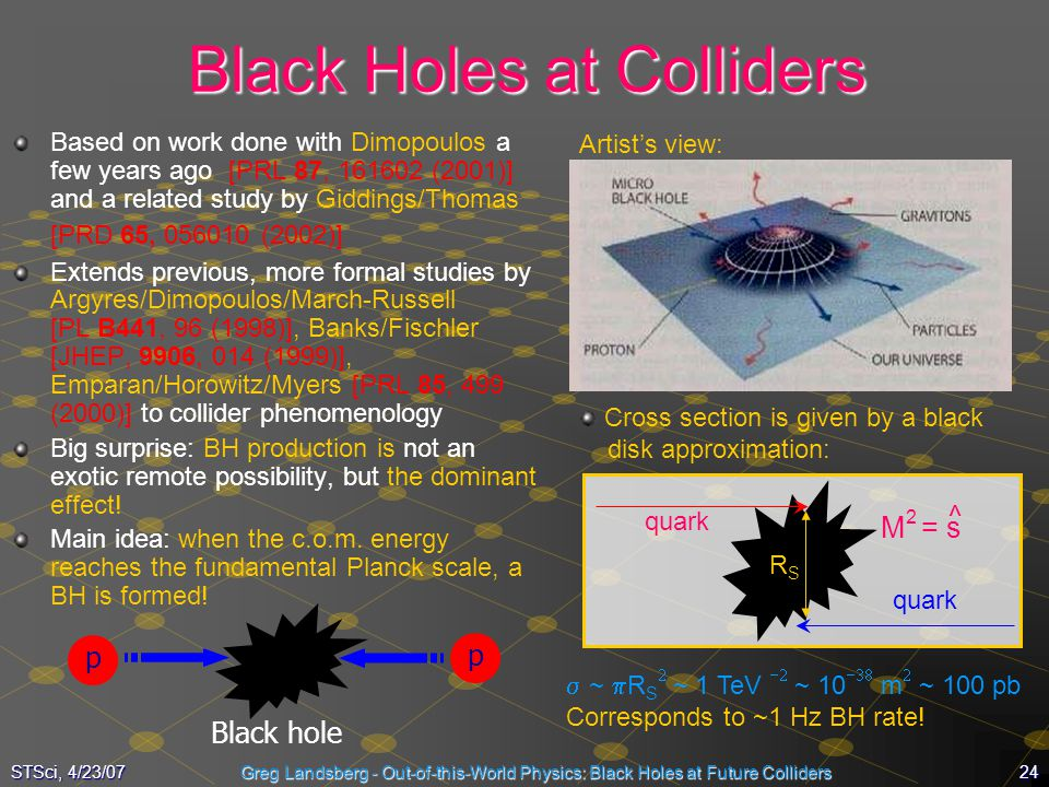 24STSci, 4/23/07Greg Landsberg - Out-of-this-World Physics: Black Holes at Future Colliders Black Holes at Colliders Based on work done with Dimopoulo