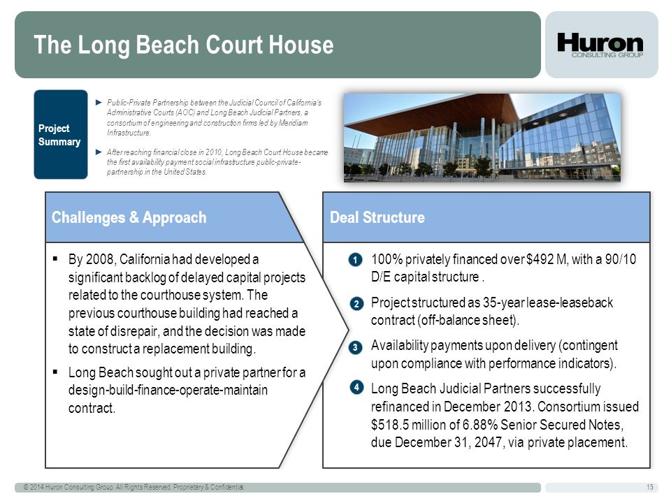 The Long Beach Court House 15 © 2014 Huron Consulting Group.