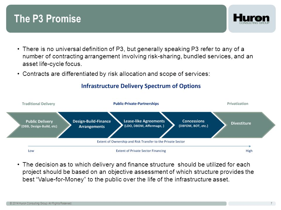 The P3 Promise 7 © 2014 Huron Consulting Group. All Rights Reserved.
