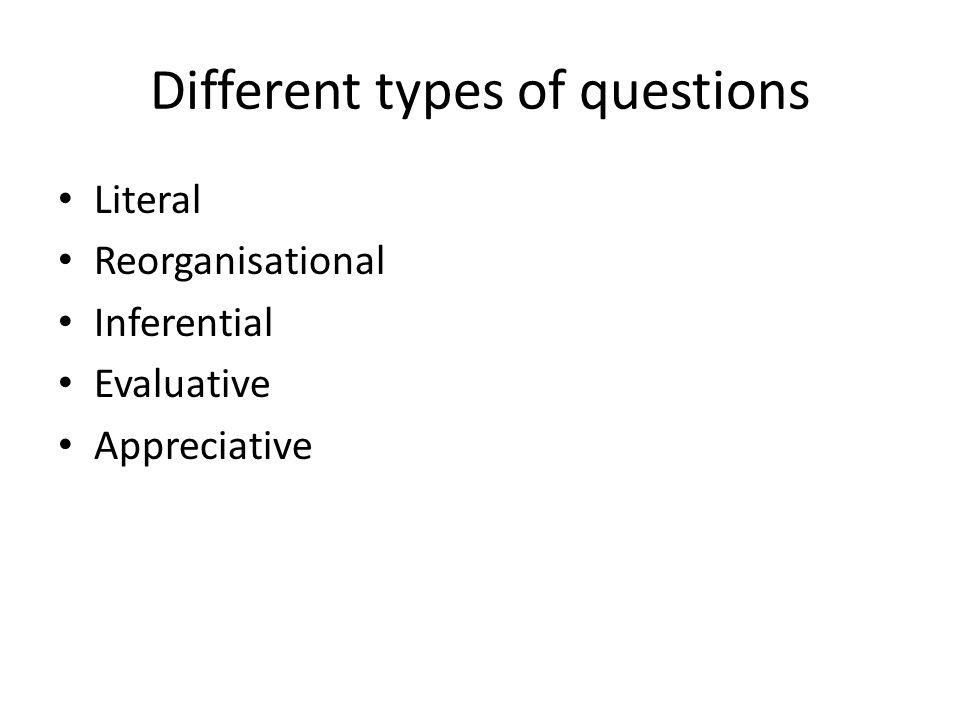 Different types of questions Literal Reorganisational Inferential Evaluative Appreciative