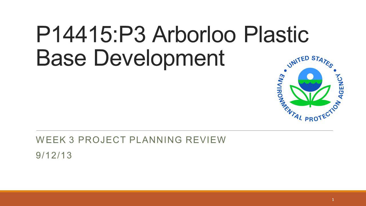 P14415:P3 Arborloo Plastic Base Development WEEK 3 PROJECT PLANNING REVIEW 9/12/13 1