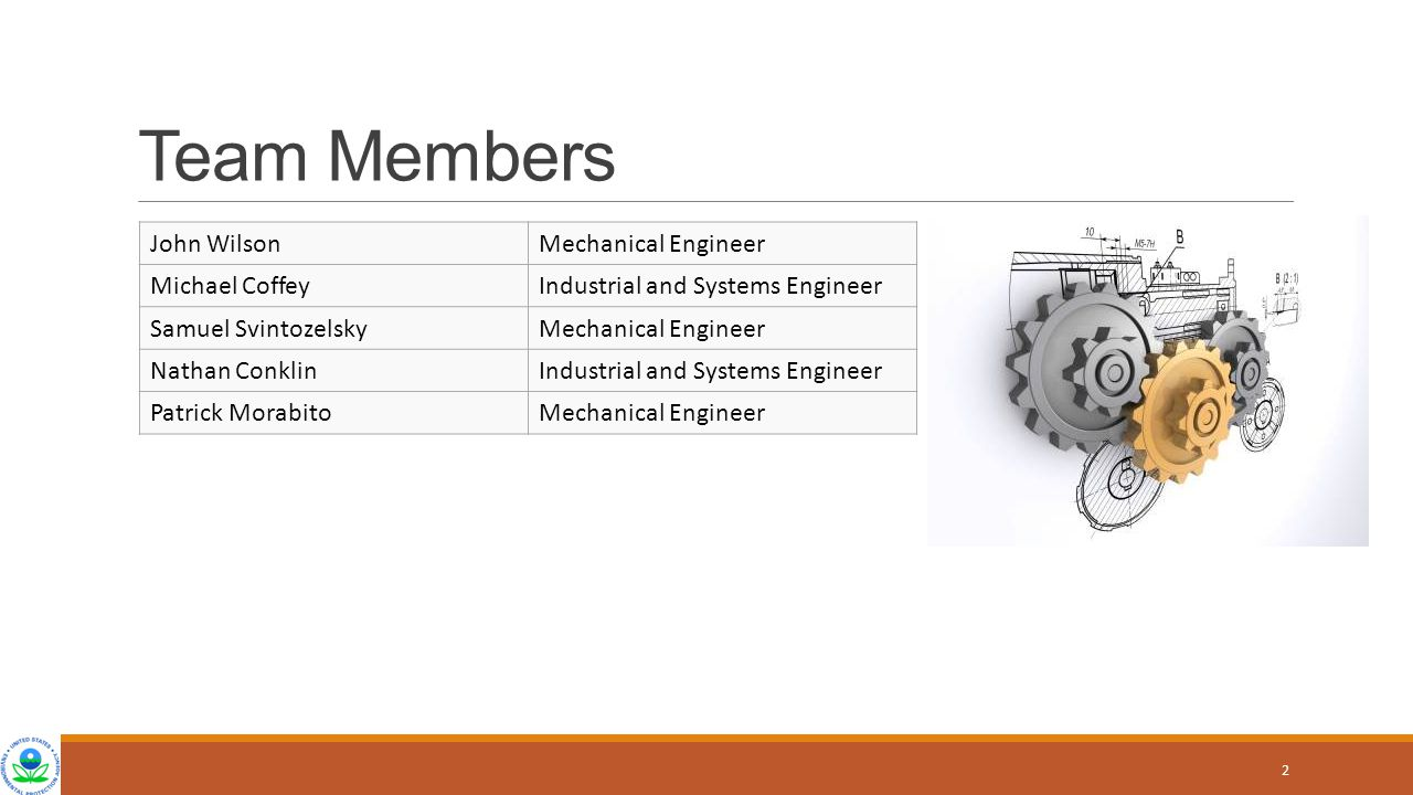 Team Members John WilsonMechanical Engineer Michael CoffeyIndustrial and Systems Engineer Samuel SvintozelskyMechanical Engineer Nathan ConklinIndustr