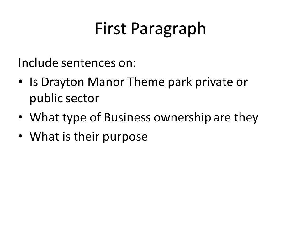 Aims Discuss with a partner what may be suitable aims for Drayton Manor (5 mins max) Each pair to share their ideas with the class Remember these will give the organisation its direction for the next year or so
