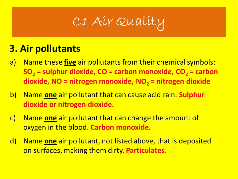 3. Air pollutants C1 Air Quality a)Name these five air pollutants from their chemical symbols: SO 2 = sulphur dioxide, CO = carbon monoxide, CO 2 = ca