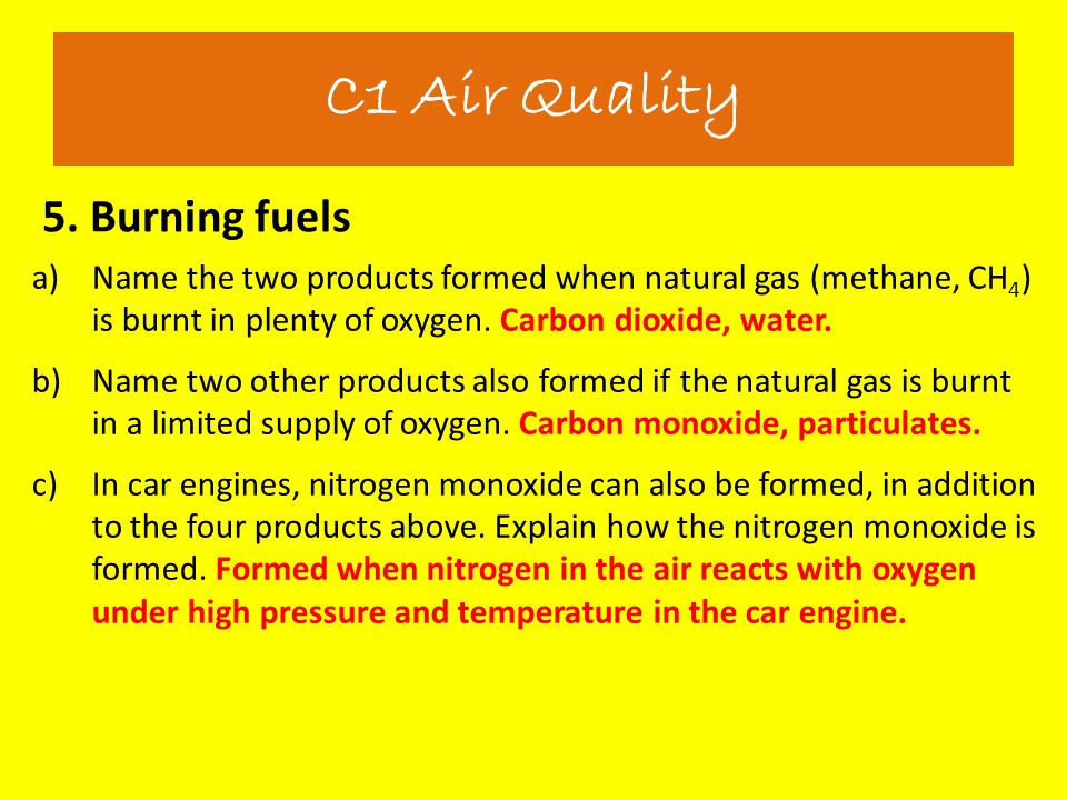 5. Burning fuels C1 Air Quality a)Name the two products formed when natural gas (methane, CH 4 ) is burnt in plenty of oxygen. Carbon dioxide, water.