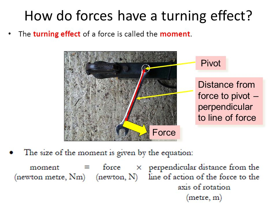 How do forces have a turning effect. The turning effect of a force is called the moment.