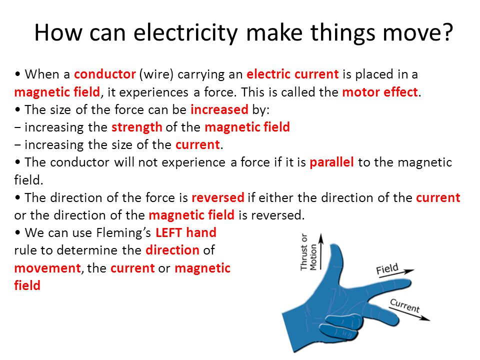 How can electricity make things move.