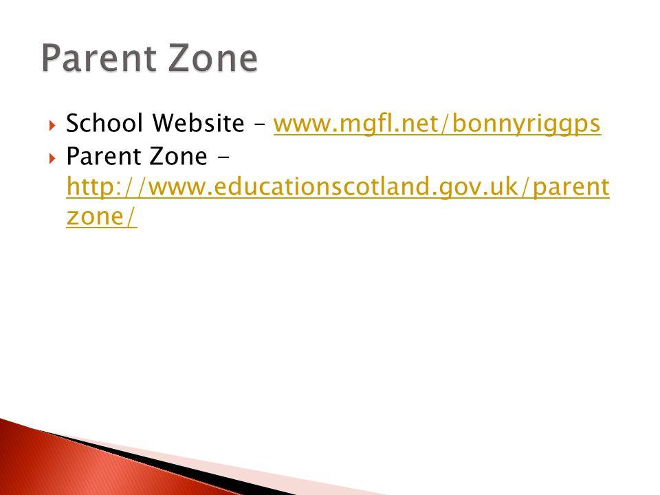  School Website – www.mgfl.net/bonnyriggpswww.mgfl.net/bonnyriggps  Parent Zone - http://www.educationscotland.gov.uk/parent zone/ http://www.educationscotland.gov.uk/parent zone/