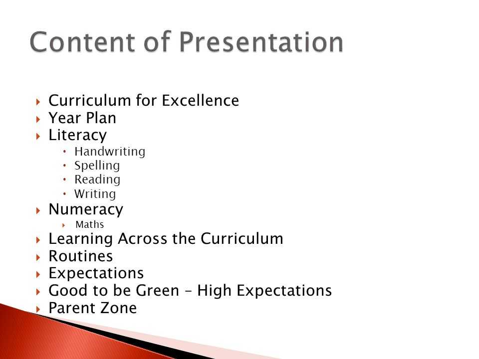  Curriculum for Excellence  Year Plan  Literacy  Handwriting  Spelling  Reading  Writing  Numeracy  Maths  Learning Across the Curriculum  Routines  Expectations  Good to be Green – High Expectations  Parent Zone