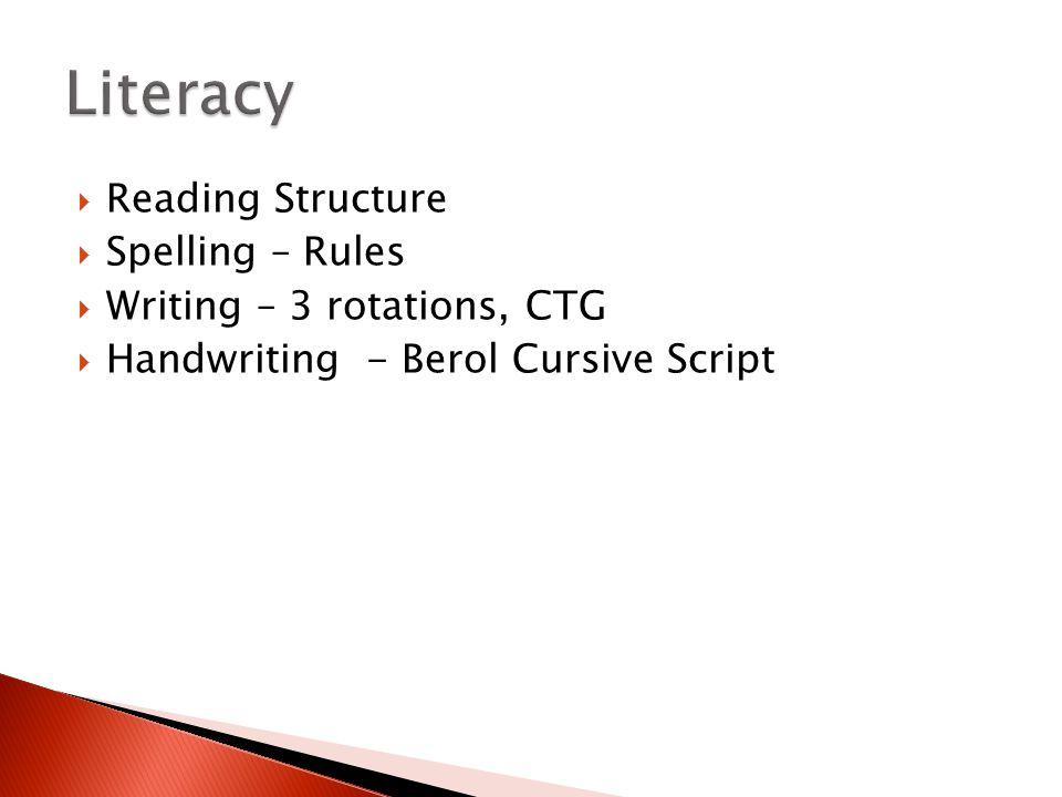  Reading Structure  Spelling – Rules  Writing – 3 rotations, CTG  Handwriting - Berol Cursive Script