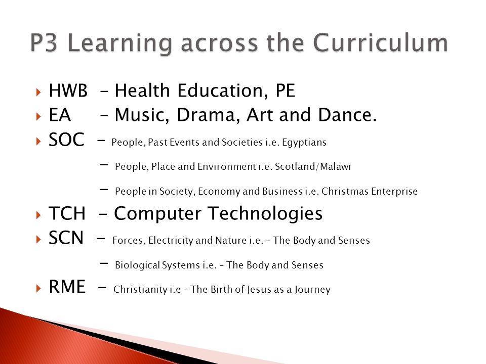  HWB – Health Education, PE  EA – Music, Drama, Art and Dance.