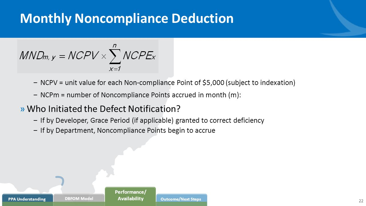 Monthly Noncompliance Deduction ‒NCPV = unit value for each Non-compliance Point of $5,000 (subject to indexation) ‒NCPm = number of Noncompliance Points accrued in month (m): »Who Initiated the Defect Notification.