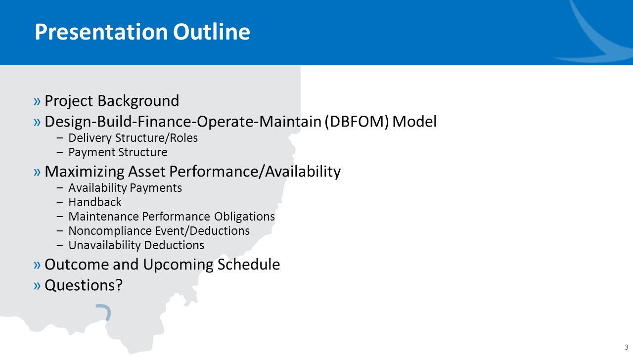 Private Sector O&M Responsibility »Developer Maintains O&M ‒35-year Operating Period ‒In coordination with DBT, determines asset lifecycle strategies ‒ODOT to keep minor roles (e.g., snow/ice control, incident/emergency management) ‒Self reports non-conformances with performance requirements ‒Routine (mowing, MOT, etc.) and renewal (pavement resurfacing, bridge rehabilitation, drainage, etc.) 14 DBT IQF ODOT Developer After Substantial Completion PPA Project Background DBFOM Model Performance/Availability Outcome/Next Steps Operations Maintenance Quality Oversight