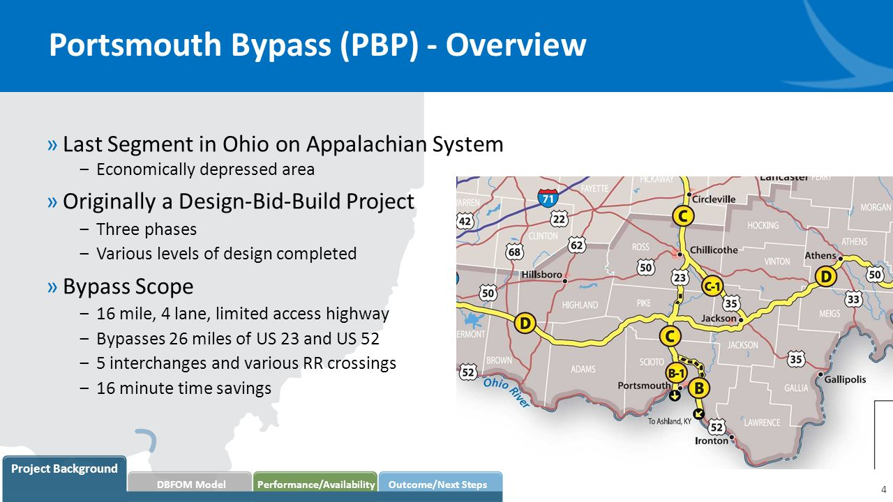 Portsmouth Bypass (PBP) - Overview »Last Segment in Ohio on Appalachian System ‒Economically depressed area »Originally a Design-Bid-Build Project ‒Three phases ‒Various levels of design completed »Bypass Scope ‒16 mile, 4 lane, limited access highway ‒Bypasses 26 miles of US 23 and US 52 ‒5 interchanges and various RR crossings ‒16 minute time savings 4 Project Background DBFOM Model Performance/AvailabilityOutcome/Next Steps