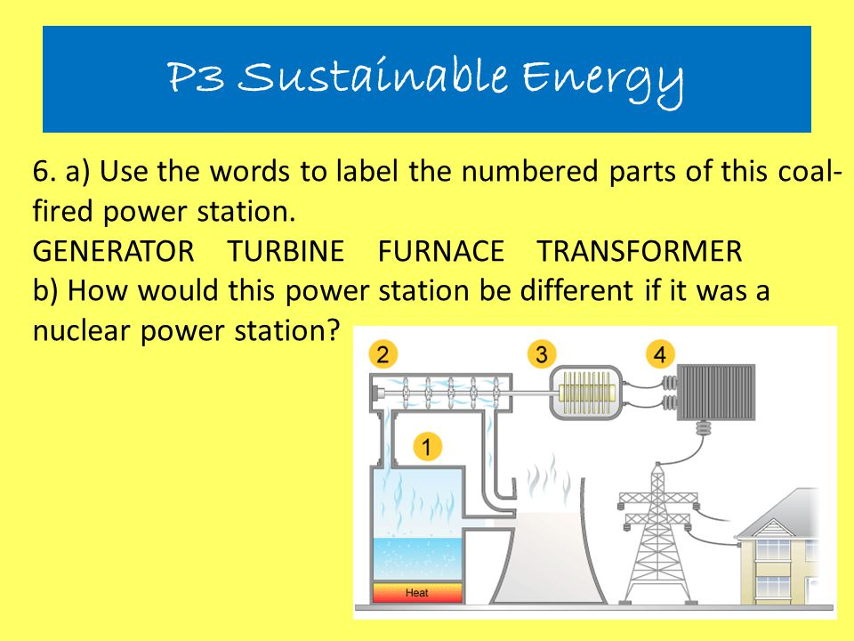 6. a) Use the words to label the numbered parts of this coal- fired power station. GENERATOR TURBINE FURNACE TRANSFORMER b) How would this power stati