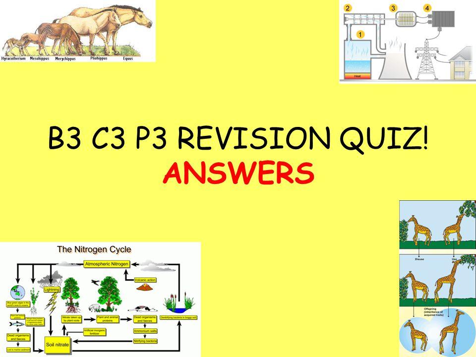B3 C3 P3 REVISION QUIZ! ANSWERS