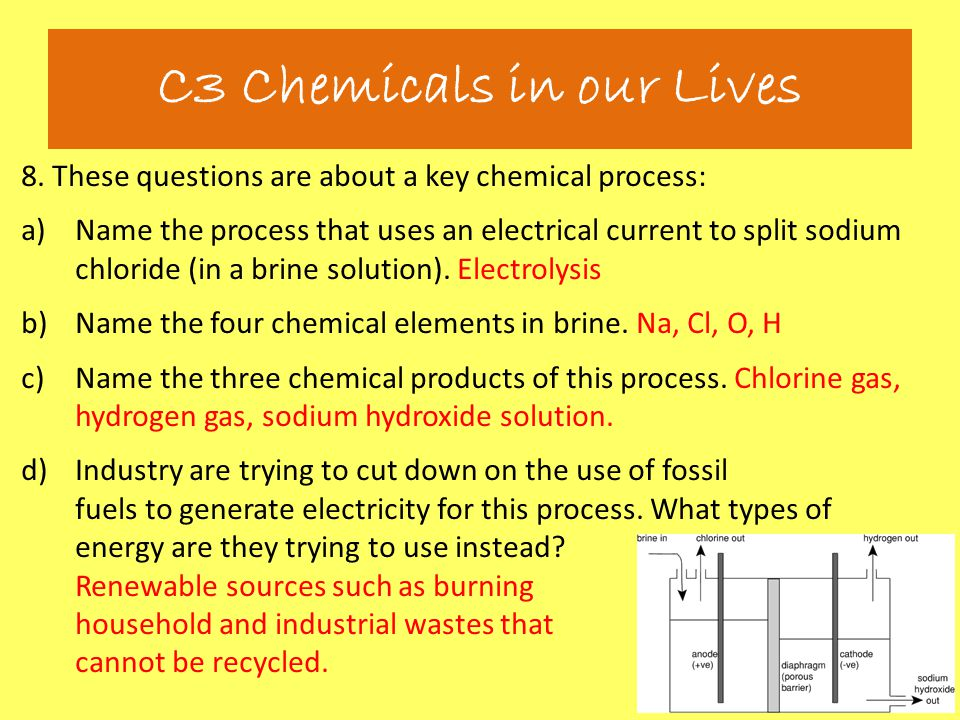 8. These questions are about a key chemical process: a)Name the process that uses an electrical current to split sodium chloride (in a brine solution)