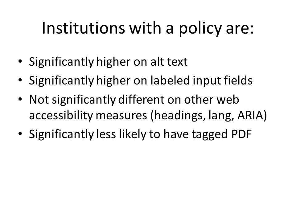 Institutions with a policy are: Significantly higher on alt text Significantly higher on labeled input fields Not significantly different on other web accessibility measures (headings, lang, ARIA) Significantly less likely to have tagged PDF