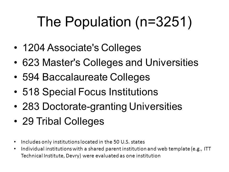 The Population (n=3251) 1204 Associate s Colleges 623 Master s Colleges and Universities 594 Baccalaureate Colleges 518 Special Focus Institutions 283 Doctorate-granting Universities 29 Tribal Colleges Includes only institutions located in the 50 U.S.