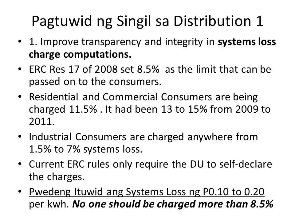 Pagtuwid ng Singil sa Distribution 1 1.