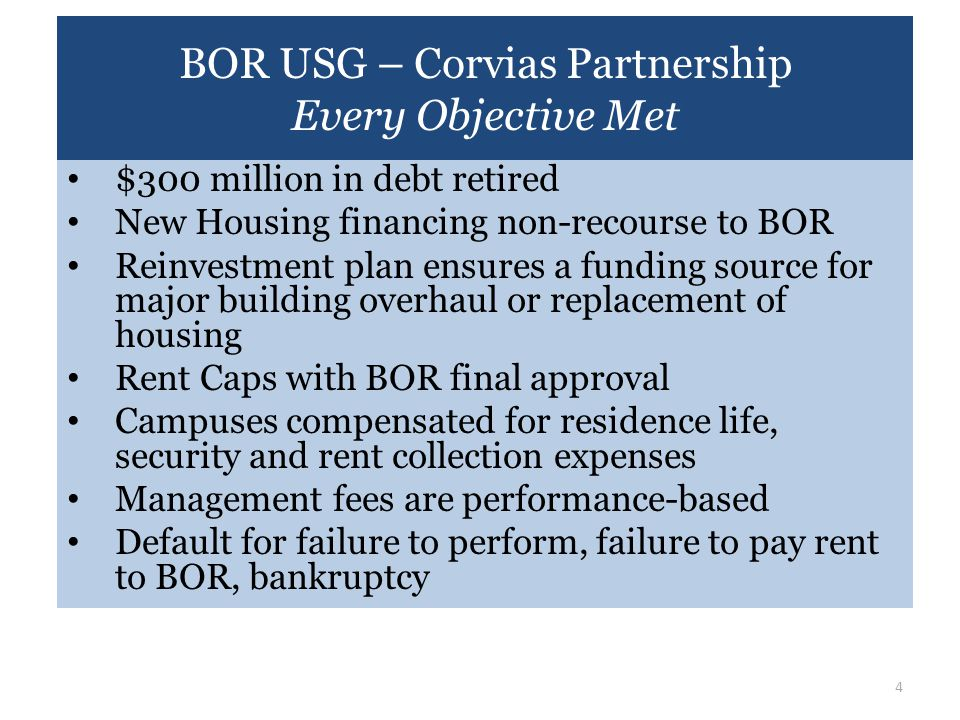 BOR USG – Corvias Partnership Every Objective Met $300 million in debt retired New Housing financing non-recourse to BOR Reinvestment plan ensures a f