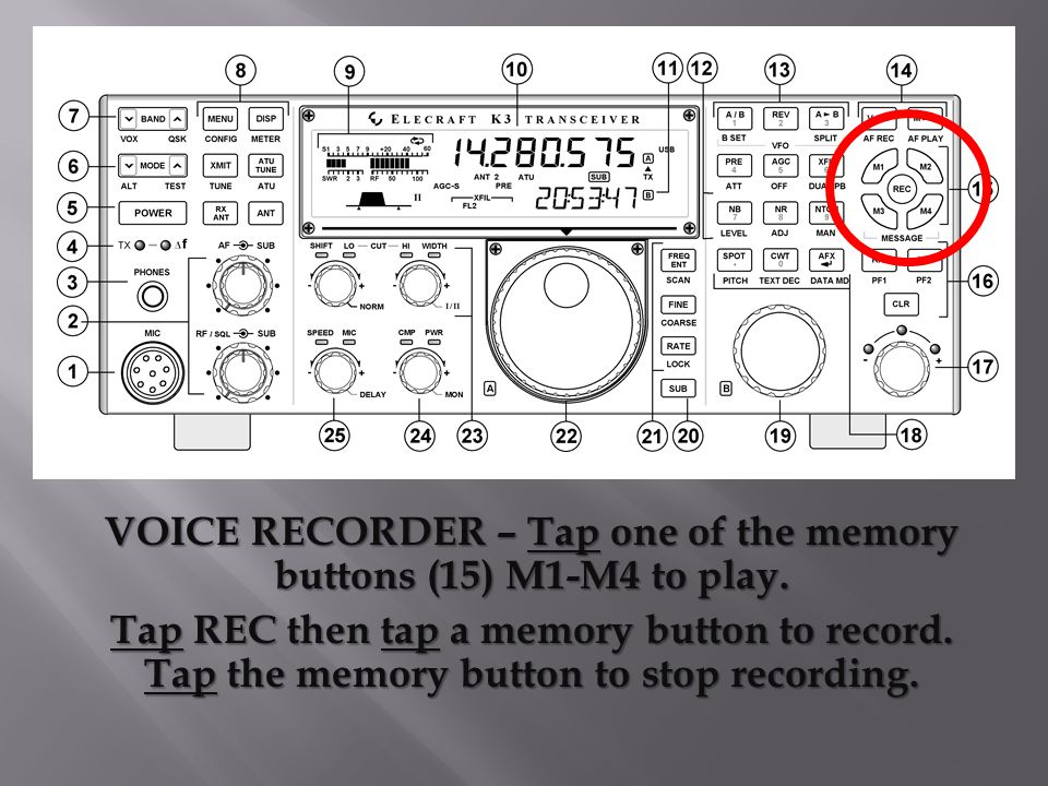 VOICE RECORDER – Tap one of the memory buttons (15) M1-M4 to play.