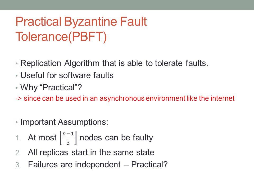 Practical Byzantine Fault Tolerance(PBFT)