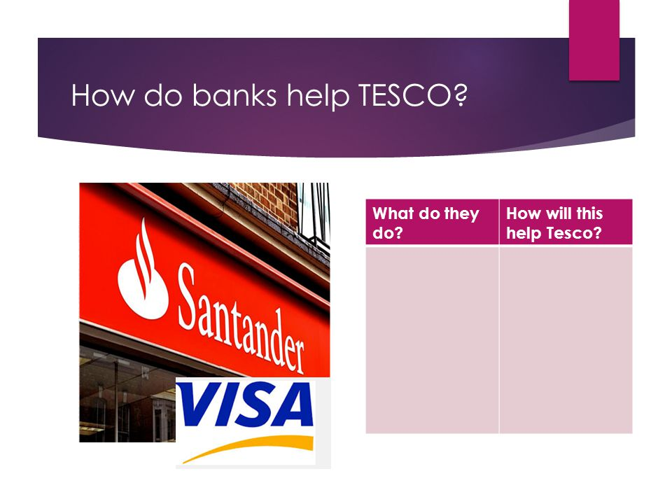 How do banks help TESCO What do they do How will this help Tesco